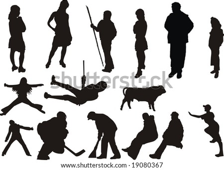 silhouette of  people at different poses - stock vector