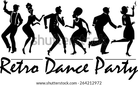 Silhouette of people dressed in vintage fashion, dancing the twist and rock and roll, vector illustration, no white, EPS 8  - stock vector