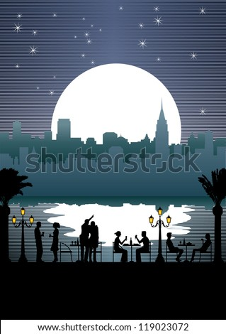 Silhouette of people eating outdoor by the river at night with cityscape background - stock vector