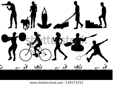 Silhouette of people exercising and burning calories, vector - stock vector