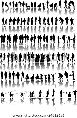 Silhouette of people in action vector illustration - stock vector
