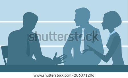 silhouette of people, office staff - stock vector