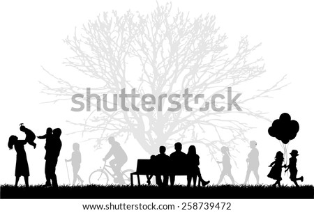 Silhouette of people on the outside - stock vector