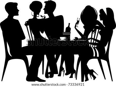 silhouette of people sitting at table - stock vector