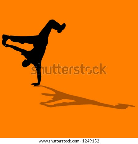 silhouette of person breakdancing - stock vector