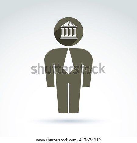 Silhouette of person standing in front, vector illustration of an office manager.  Delegate, consultant, white-collar worker. Vector banking symbol, bank building icon. Financial service concept. - stock vector