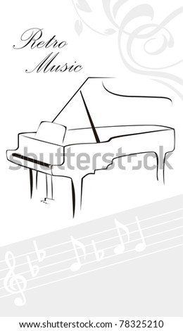 Silhouette of piano and notes. Vector - stock vector