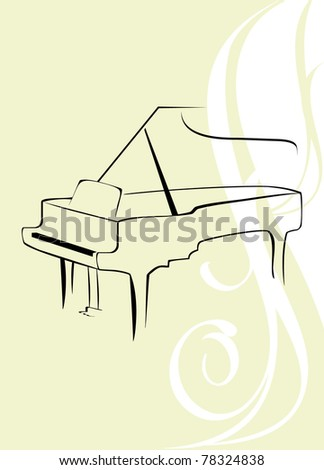 Silhouette of piano on the decorative background. Vector