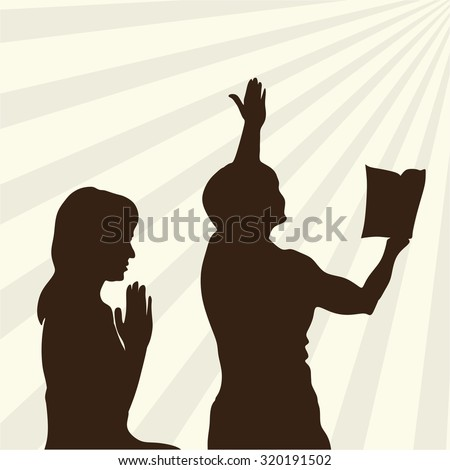 Silhouette of praise and worship to God - stock vector