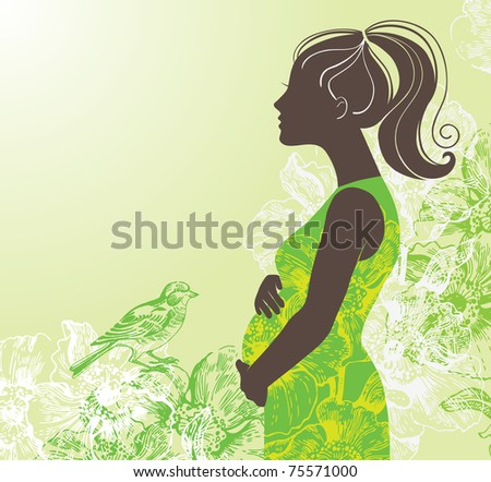 Silhouette of pregnant woman - stock vector