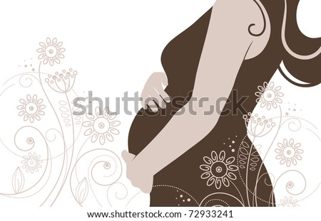 Silhouette of pregnant woman in flowers - stock vector