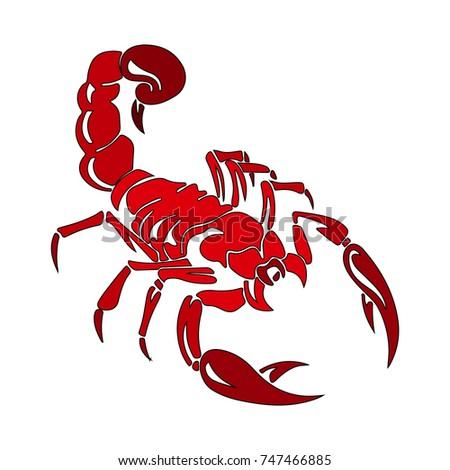 silhouette red scorpion cartoon on white stock vector