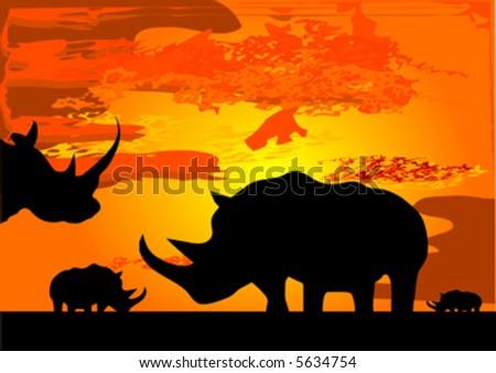 silhouette of rhinoceros - stock vector