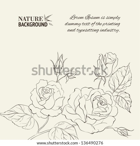 Silhouette of rose. Vector illustration. - stock vector