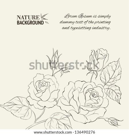 Silhouette of rose. Vector illustration. - stock vector