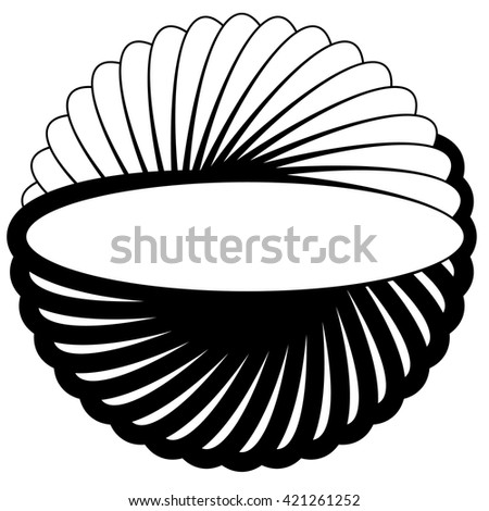 Silhouette of rotating oval, ellipse shape. Abstract spiral element. - stock vector