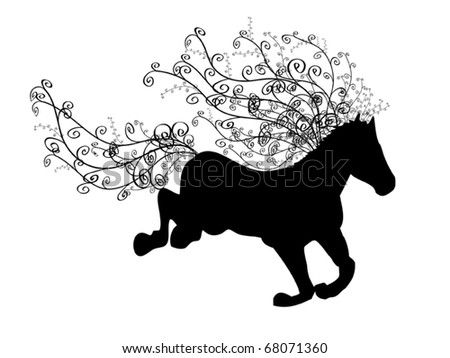 Silhouette of running horse with ornamental spiral mane and tail - stock vector