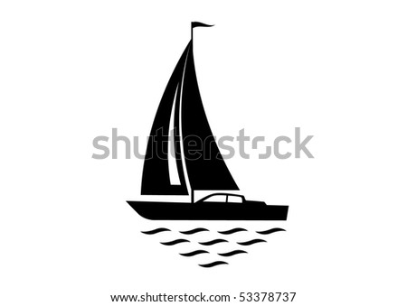 Silhouette of sailboat - stock vector