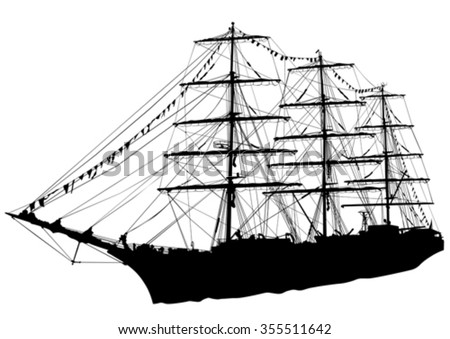 Silhouette of sailing ship on white background - stock vector