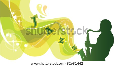 Silhouette of saxophonist, vector background - stock vector