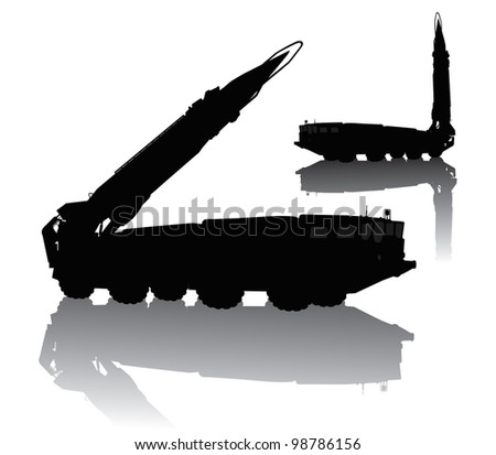 Silhouette of  Scud missile launcher - stock vector