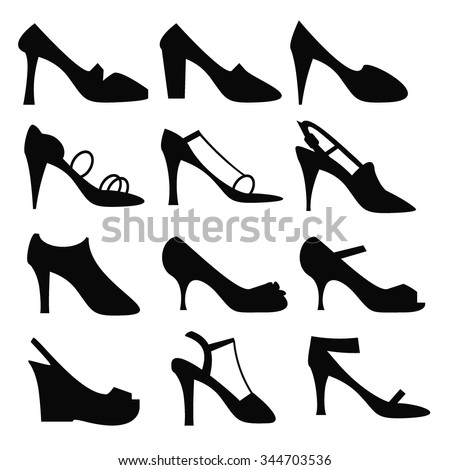 Silhouette of sexy woman fashion high heel shoe