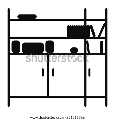 Silhouette of shelving. Black and white. Isolated on white background. - stock vector