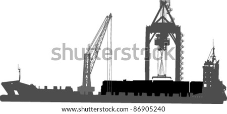 silhouette of ship in port on unloading under the crane - stock vector