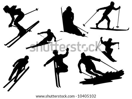 Silhouette of skiers, vector, illustrations