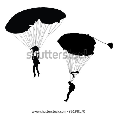 Silhouette of skydiver before landing. Vector - stock vector