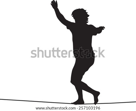 Silhouette of slackiner walking on tightrope - stock vector
