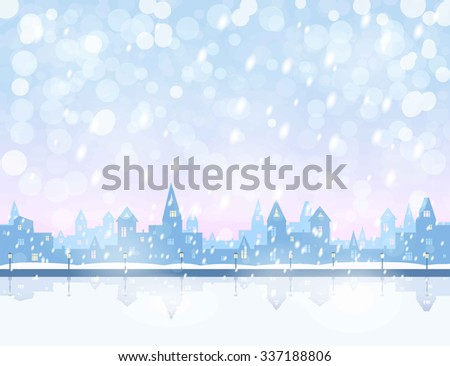 silhouette of snowing  winter town, river, embankment,  light blue and pink sky, snowfall, vector illustration - stock vector