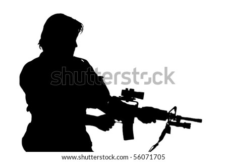 silhouette of soldier - stock vector