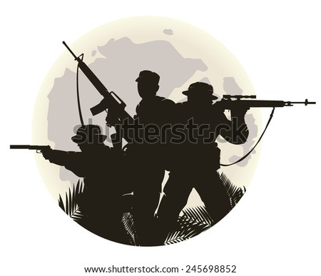 silhouette of soldiers in action. vector illustration - stock vector