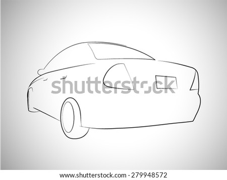 Silhouette of sport car back view. Vector illustration
