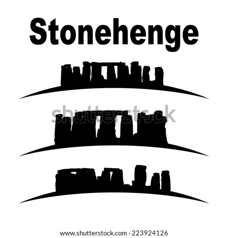 silhouette of stonehenge vector set, great for your design - stock vector