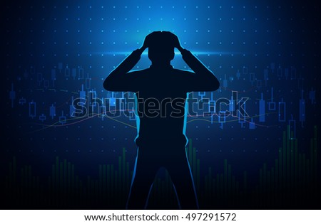 Silhouette of stressed investor on concept background about stock chart. Man touch his head.