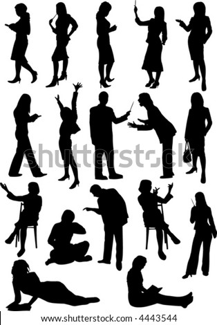 silhouette of studying people - stock vector