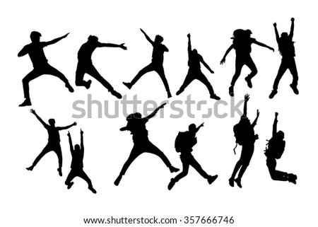 Silhouette of Success man mountain climber jump with white background - stock vector