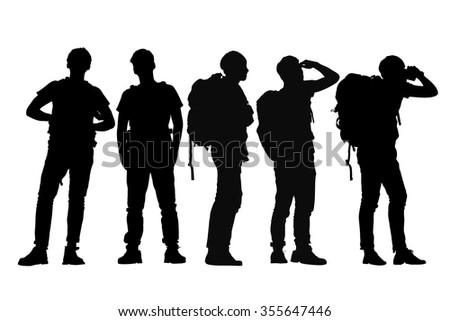 Silhouette of Success man mountain climber with white background - stock vector