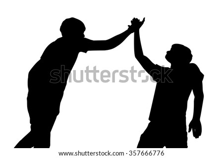 Silhouette of Success men give high five celebrate with white background - stock vector