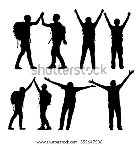 Silhouette of Success men mountain climber celebrate together and giving high five with white background - stock vector