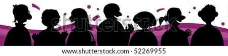 Silhouette of talking people