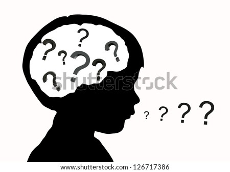 silhouette of the baby's head with question marks