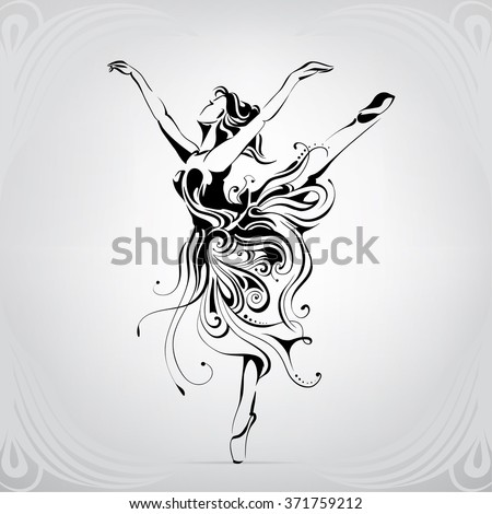 Silhouette of the ballerina in an ornament - stock vector
