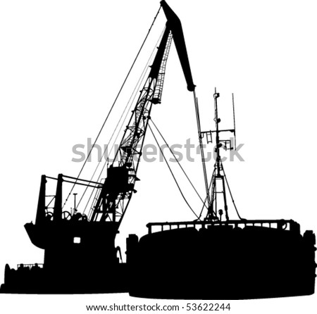 Silhouette of the barge and the floating crane in port - stock vector
