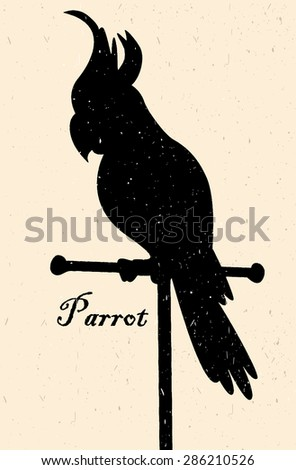Silhouette of the bird. A parrot on a perch - stock vector