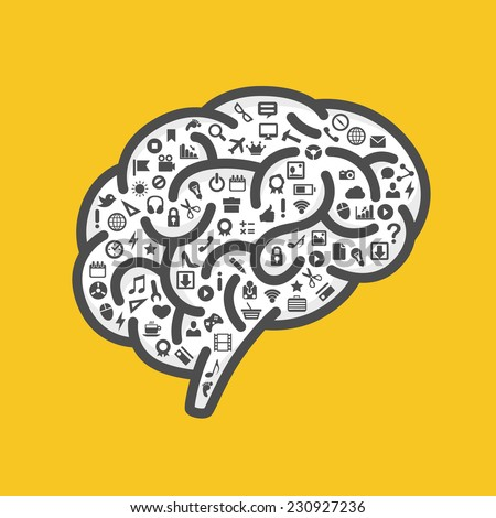 Silhouette of the brain with icons on white background. Vector illustration - stock vector