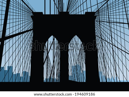 Silhouette of the Brooklyn Bridge in New York City, USA.