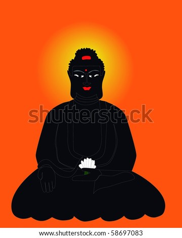 Silhouette of the Buddha on an orange background